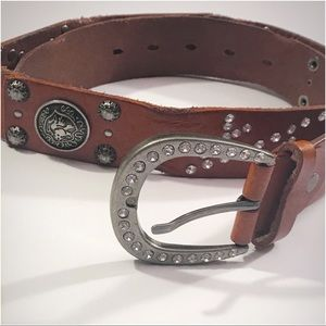 BUCKLE • Brown Leather Belt with Rhinestones